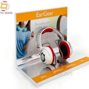 18 Years China Factory Custom Counter Top Earphone Stand Acrylic Headphone Headset Retail Display