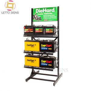 18 Years Factory Retail Store POP POS Flooring Wire Metal Storage Battery Display Rack
