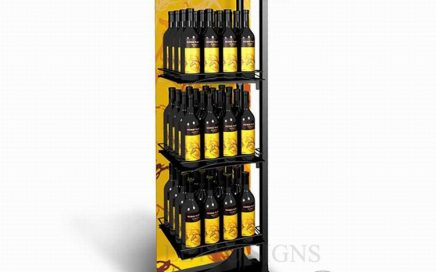 Supermarket floor metal and wood commercial wine display shelf