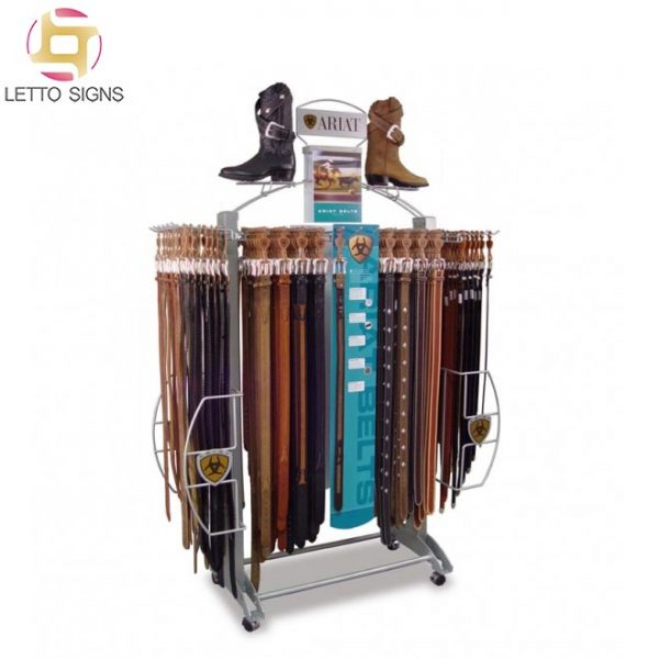 18 Years Promotional Merchandise Custom Pop Pos Retail Shop Floor Wire Metal Wooden Stand Rack Leather Belt Display For Store