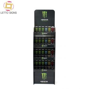 Monster Energy Soft Canned Drinks Merchandising Promotional Retail Store Pop Pos Floor Corrugated Paper Cardboard Display Stand Racks